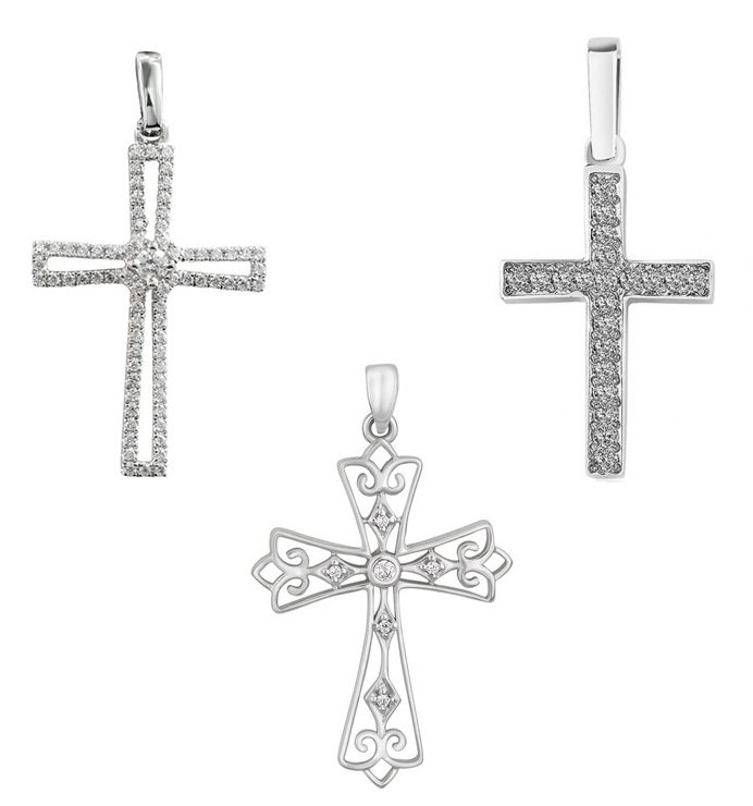 Крестики из белого золота