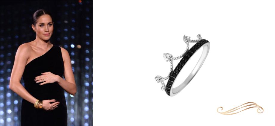Кольцо Корона в черной усыпке