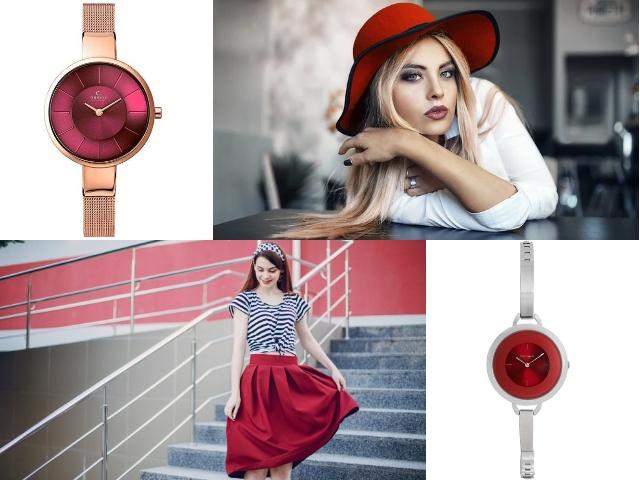 Красный циферблат часы