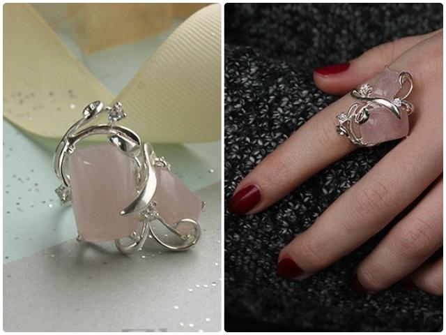Серебряные кольца с розовым кварцем