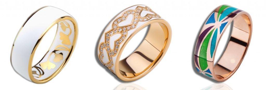 Кольца с ювелирной эмалью