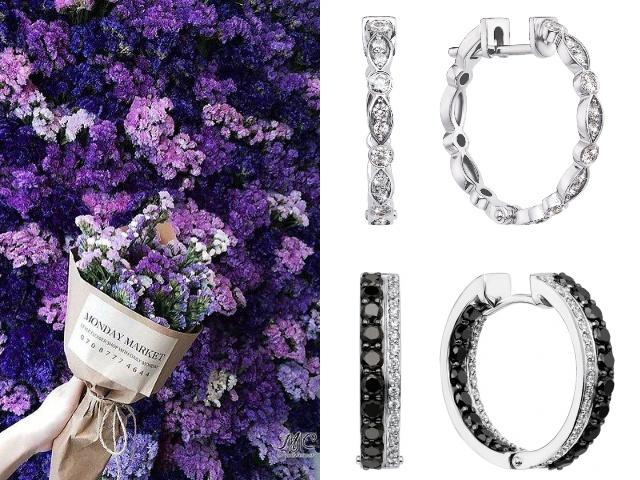 Золотые серьги кольца с бриллиантами