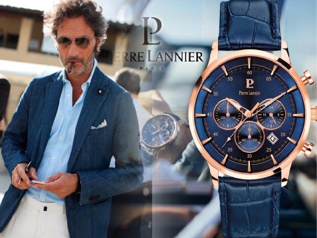 Синие мужские часы от Пьер Ланьер