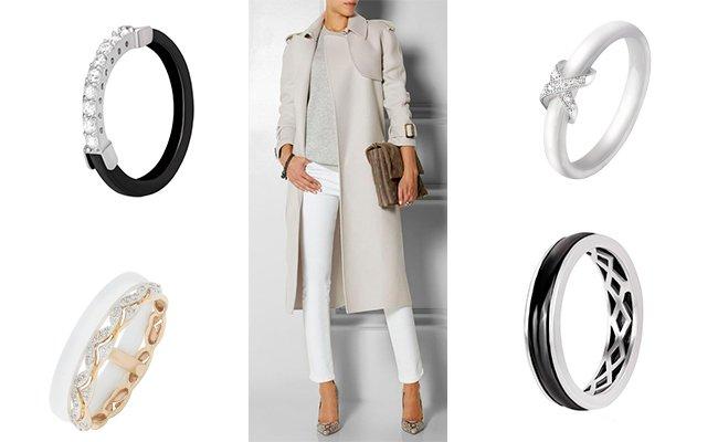 Стильные кольца с керамикой