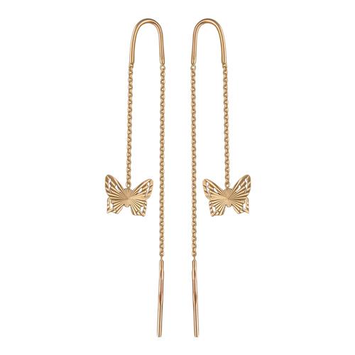 Серьги-протяжки золотые с бабочками