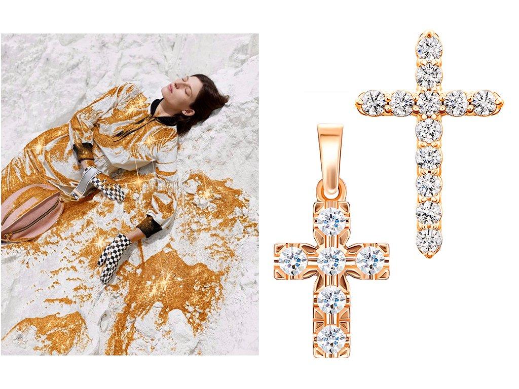 Золотые кресты в кристаллах Сваровски
