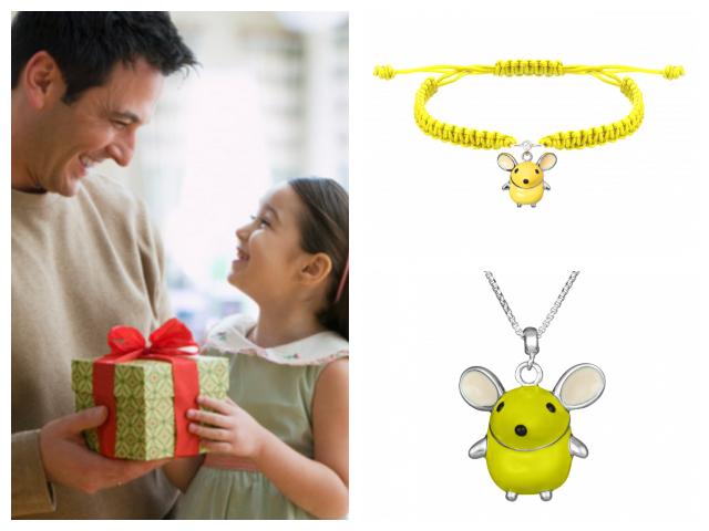 Детский браслет и подвес с мышкой
