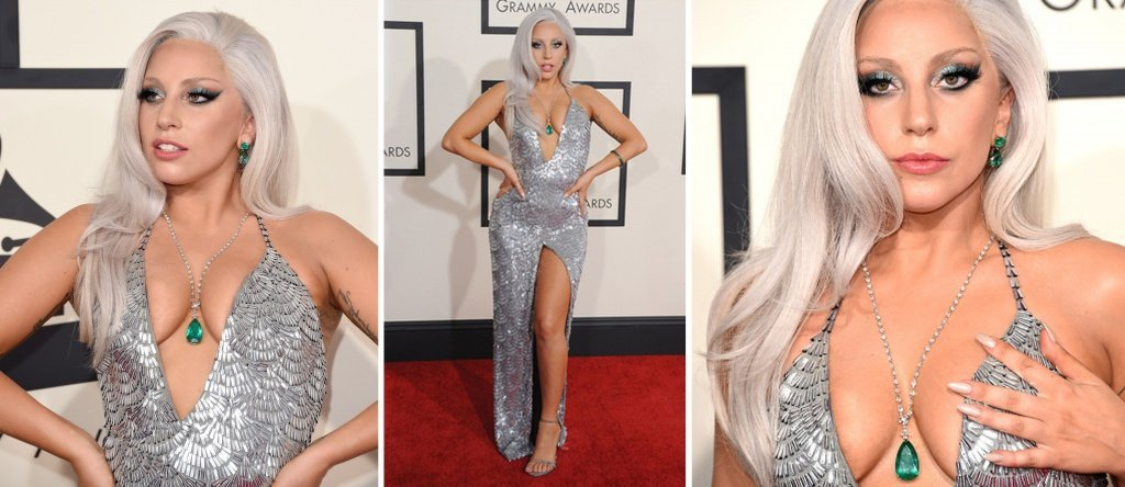Леди Гага в украшениях с изумрудом и бриллиантами