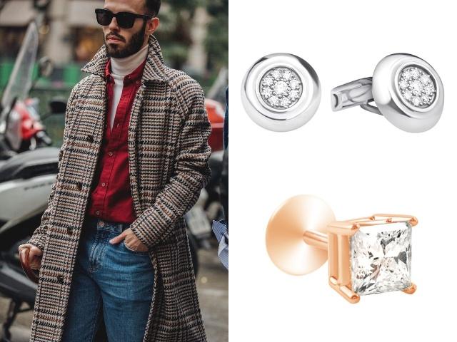 Золотые мужские украшения с бриллиантами