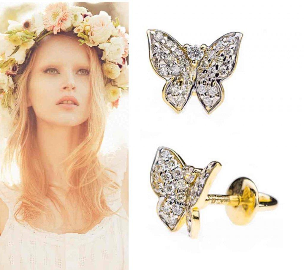 Золотые сережки-пусеты с бриллиантами в виде бабочек