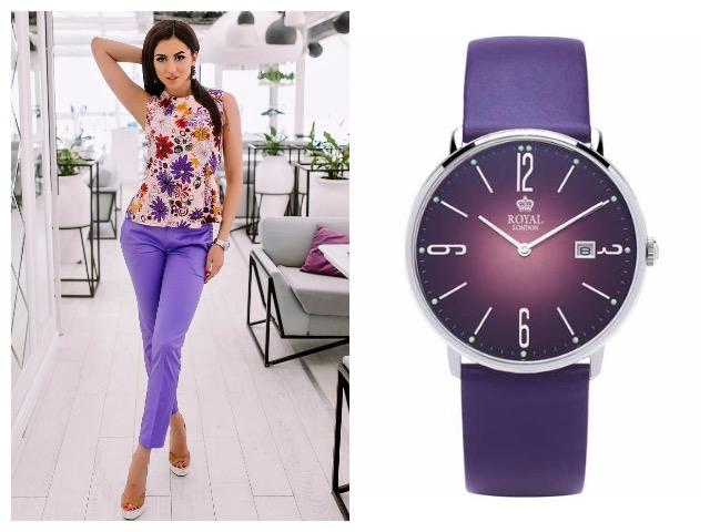 Часы с фиолетовым циферблатом