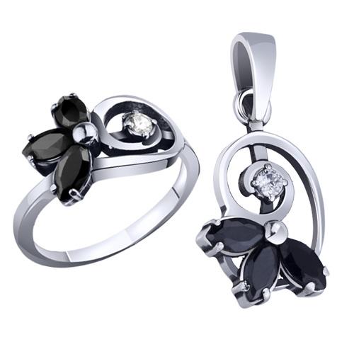 Комплект из кольца и кулона с камнями
