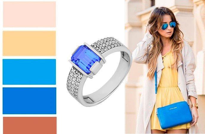 Кольцо с кварцем в сочетании с разными цветами одежды