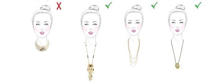 Украшения на шею для девушки с круглой формой лица