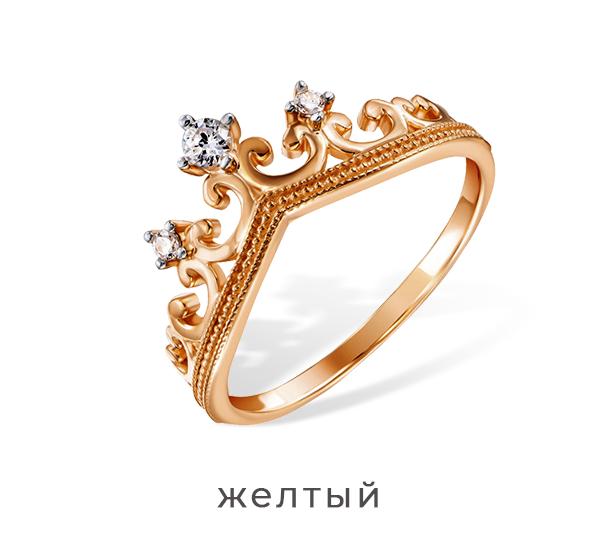 Кольцо золотая корона