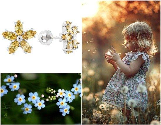 Серебряные серьги в форме цветка