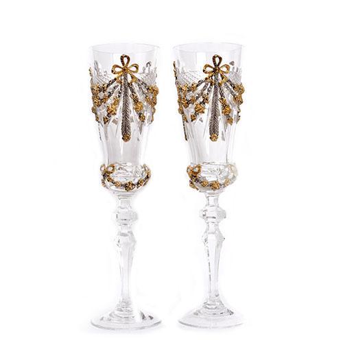 Бокалы для шампанского с позолотой