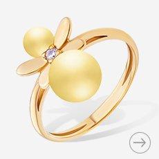 кольцо с позолотой и янтарем