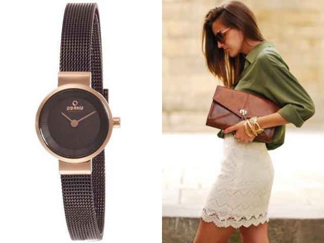 Наручные часы в металлическом корпусе с позолотой для девушки