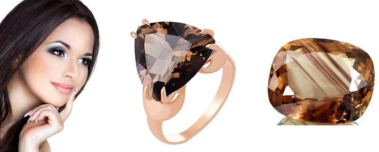 золотое кольцо с дымчатым кварцем