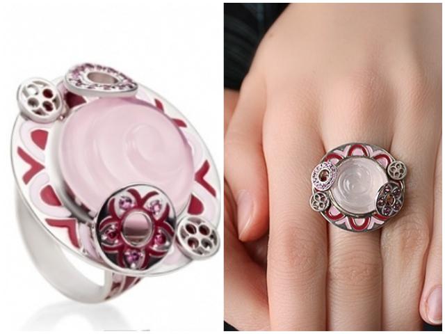 Кольца с розовым кварцем