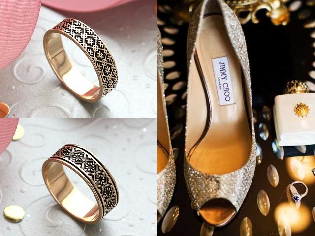 Золотые обручальные кольца с чернением