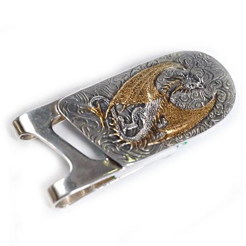 Зажим серебряный для денег с драконом