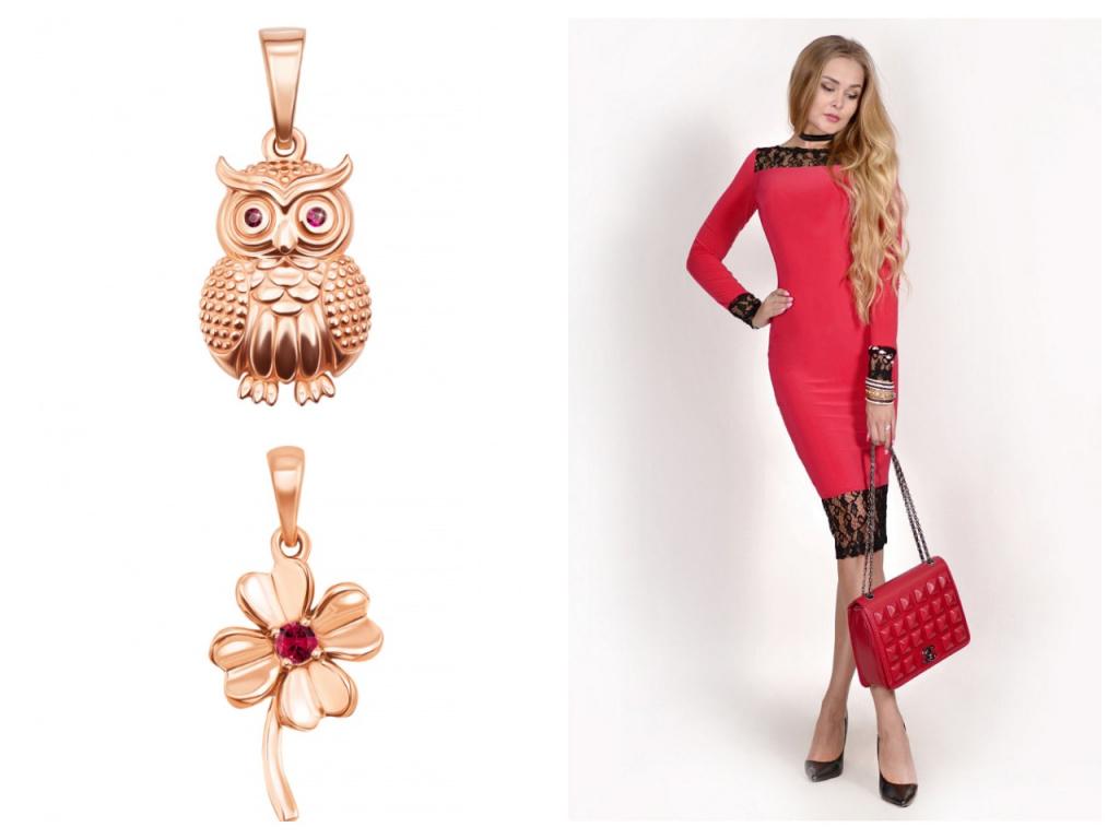 Женские золотые украшения с рубинами
