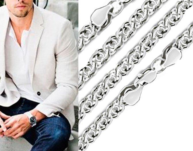Мужская цепочка из серебра