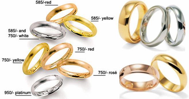 Золотые кольца с примесями для разности цветов