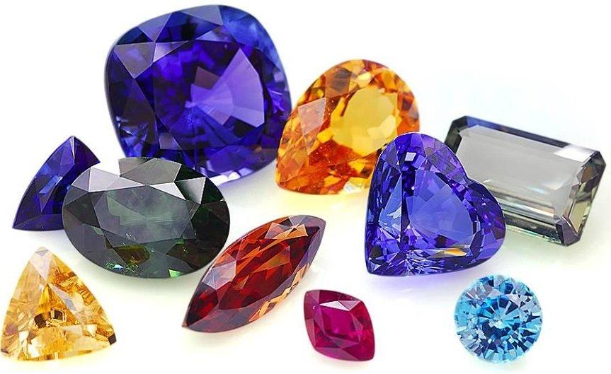 Драгоценные камни разных цветов