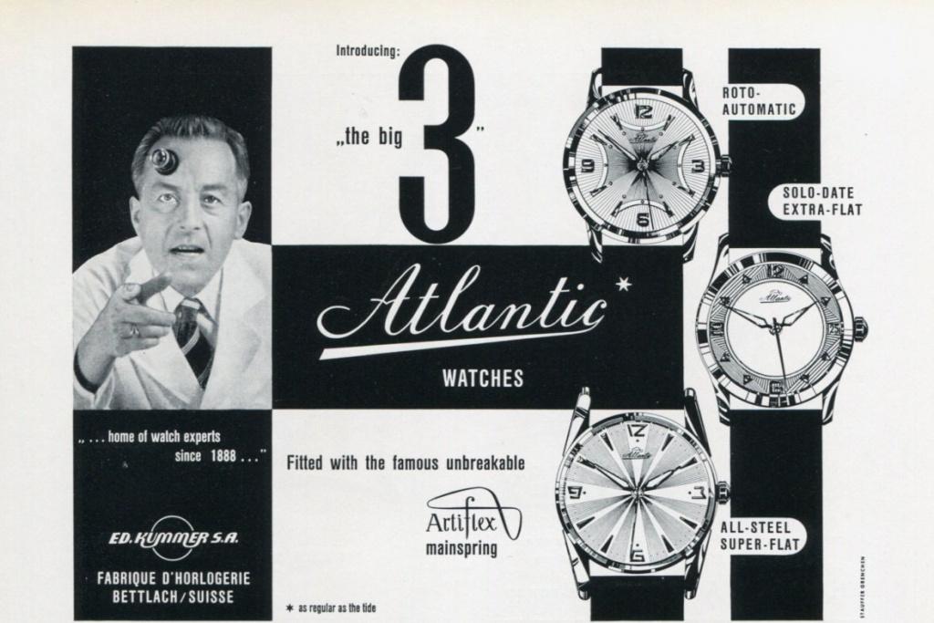 Старая реклама часов Atlantic