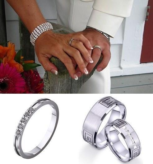 Кольца в белом цвете металла на свадьбу
