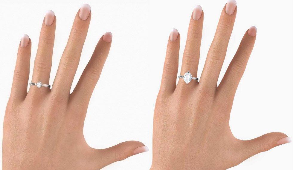 Кольцо с бриллиантом в овальной огранке