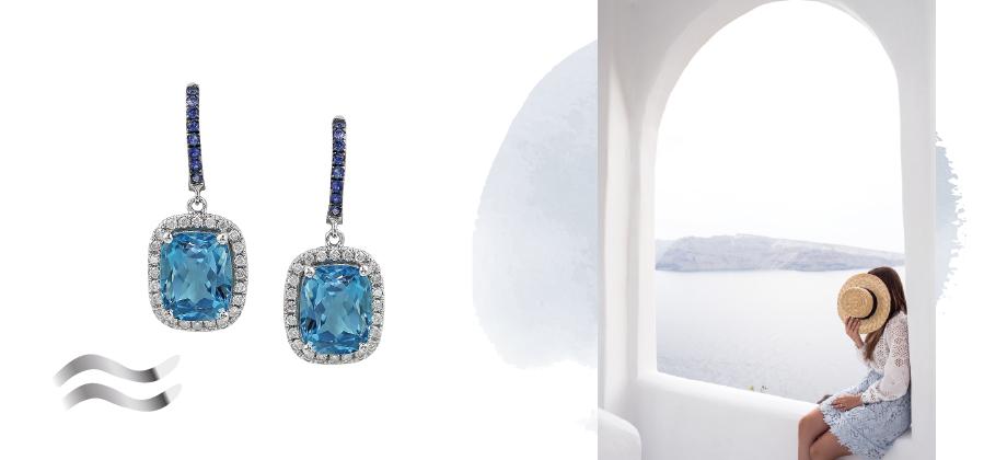Красивые серьги с синими камнями