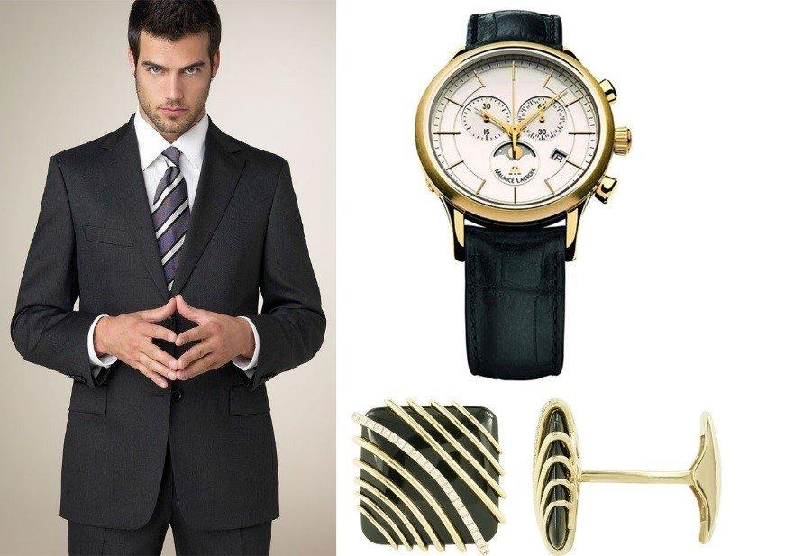 Мужские брендовые часы и ювелирные запонки