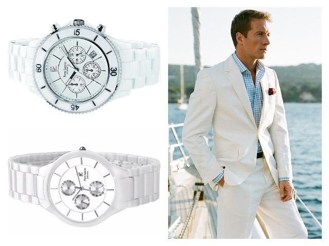 Белые мужские наручные керамические часы