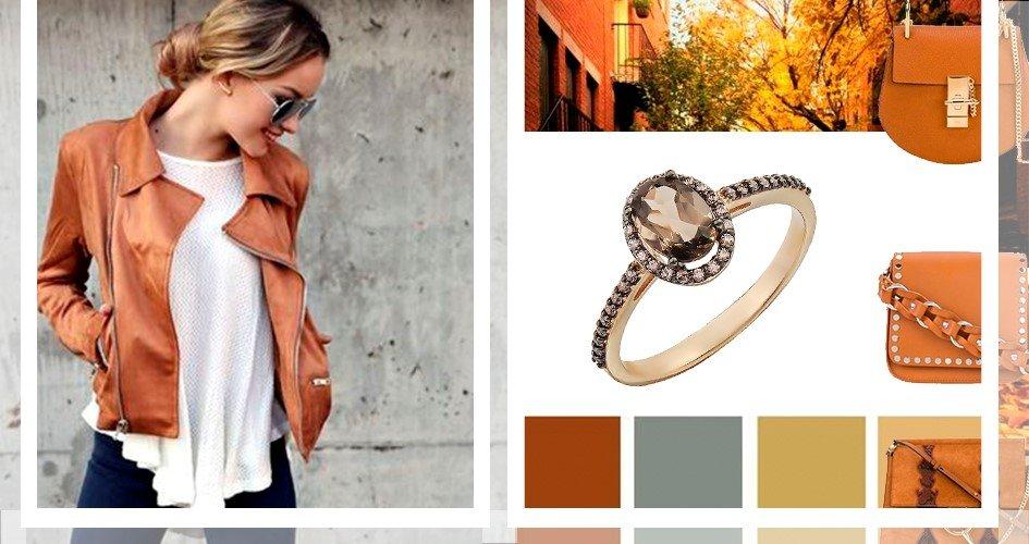 Женское кольцо с раухтопазом