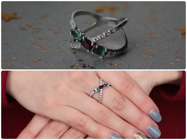 Кольца с зеленым кварцем