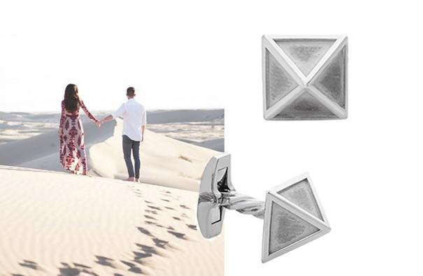 Серебренные запонки в форме пирамиды