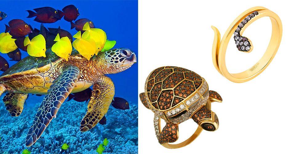 Кольцо в виде черепахи и змеи