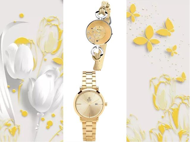 Часы желтый циферблат