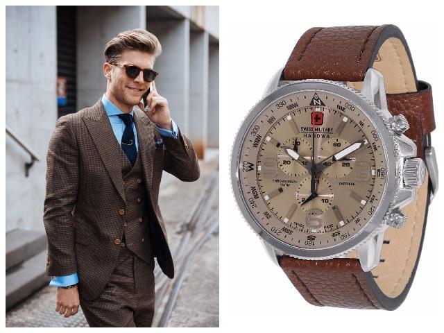 Часы с бежевым ремешком