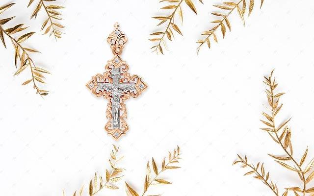 Золотой крестик с распятием
