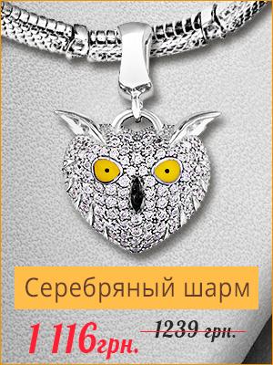 """Серебряный шарм с эмалью и фианитами """"Сова"""" - купить со скидкой -10%"""