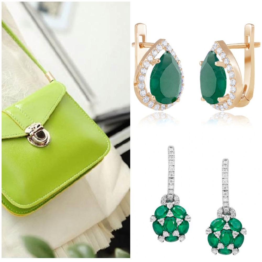 Золотые украшения с зелеными камнями