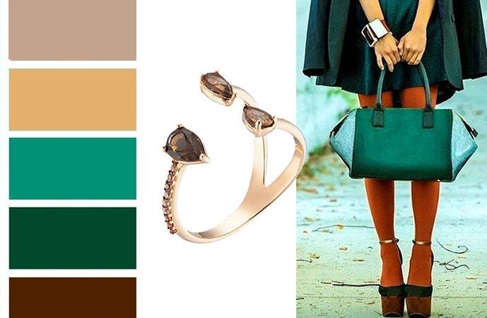 Золотое кольцо с кварцем в сочетании с цветами одежды