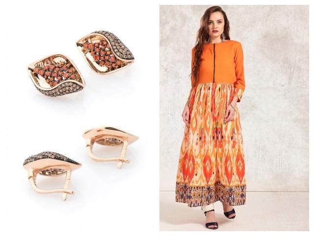 Золотые изделия с оранжевыми камнями