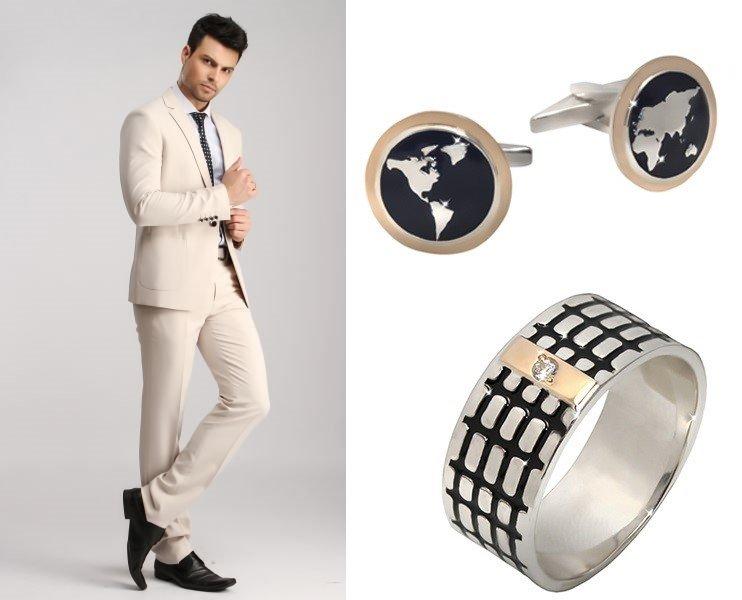 Комплект мужских серебряных украшений