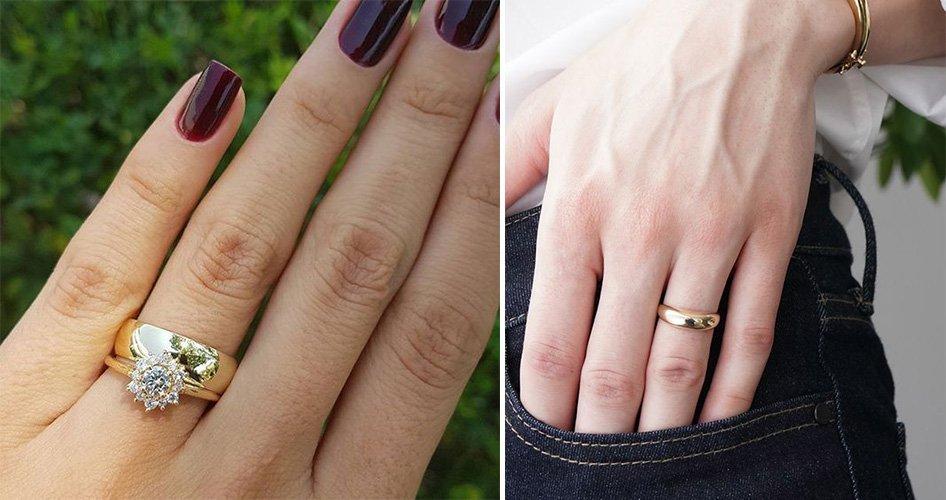 обручальные кольца на женской руке